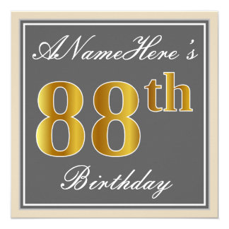 Elegant, Gray, Faux Gold 88th Birthday + Name Card