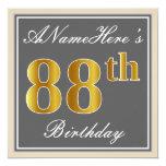 [ Thumbnail: Elegant, Gray, Faux Gold 88th Birthday + Name Invitation ]