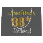 [ Thumbnail: Elegant, Gray, Faux Gold 88th Birthday + Name Gift Bag ]