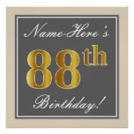 [ Thumbnail: Elegant, Gray, Faux Gold 88th Birthday + Name Poster ]