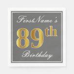 [ Thumbnail: Elegant Gray, Faux Gold 89th Birthday; Custom Name Paper Napkin ]