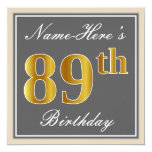 [ Thumbnail: Elegant, Gray, Faux Gold 89th Birthday + Name Invitation ]