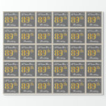 [ Thumbnail: Elegant, Gray, Faux Gold 89th Birthday + Name Wrapping Paper ]