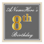 [ Thumbnail: Elegant, Gray, Faux Gold 8th Birthday; Custom Name Invitation ]