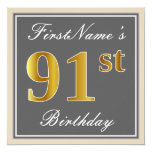 [ Thumbnail: Elegant, Gray, Faux Gold 91st Birthday + Name Invitation ]