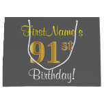 [ Thumbnail: Elegant, Gray, Faux Gold 91st Birthday + Name Gift Bag ]