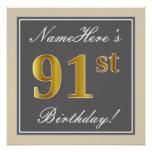 [ Thumbnail: Elegant, Gray, Faux Gold 91st Birthday + Name Poster ]