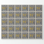 [ Thumbnail: Elegant, Gray, Faux Gold 91st Birthday + Name Wrapping Paper ]