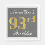 [ Thumbnail: Elegant Gray, Faux Gold 93rd Birthday; Custom Name Paper Napkin ]
