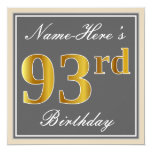 [ Thumbnail: Elegant, Gray, Faux Gold 93rd Birthday + Name Invitation ]