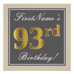 [ Thumbnail: Elegant, Gray, Faux Gold 93rd Birthday + Name Poster ]