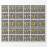 [ Thumbnail: Elegant, Gray, Faux Gold 93rd Birthday + Name Wrapping Paper ]