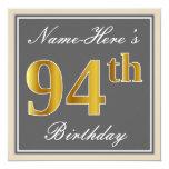 [ Thumbnail: Elegant, Gray, Faux Gold 94th Birthday + Name Invitation ]