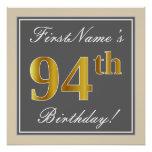 [ Thumbnail: Elegant, Gray, Faux Gold 94th Birthday + Name Poster ]