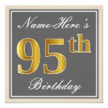 [ Thumbnail: Elegant, Gray, Faux Gold 95th Birthday + Name Invitation ]