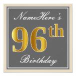 [ Thumbnail: Elegant, Gray, Faux Gold 96th Birthday + Name Invitation ]
