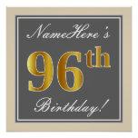 [ Thumbnail: Elegant, Gray, Faux Gold 96th Birthday + Name Poster ]