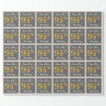 [ Thumbnail: Elegant, Gray, Faux Gold 96th Birthday + Name Wrapping Paper ]