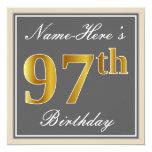[ Thumbnail: Elegant, Gray, Faux Gold 97th Birthday + Name Invitation ]