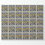[ Thumbnail: Elegant, Gray, Faux Gold 97th Birthday + Name Wrapping Paper ]