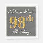 [ Thumbnail: Elegant Gray, Faux Gold 98th Birthday; Custom Name Napkin ]