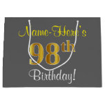 [ Thumbnail: Elegant, Gray, Faux Gold 98th Birthday + Name Gift Bag ]