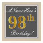 [ Thumbnail: Elegant, Gray, Faux Gold 98th Birthday + Name Poster ]