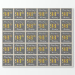 [ Thumbnail: Elegant, Gray, Faux Gold 98th Birthday + Name Wrapping Paper ]
