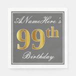 [ Thumbnail: Elegant Gray, Faux Gold 99th Birthday; Custom Name Napkin ]