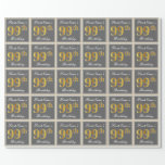 [ Thumbnail: Elegant, Gray, Faux Gold 99th Birthday + Name Wrapping Paper ]