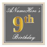 [ Thumbnail: Elegant, Gray, Faux Gold 9th Birthday; Custom Name Invitation ]