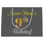[ Thumbnail: Elegant, Gray, Faux Gold 9th Birthday; Custom Name Gift Bag ]