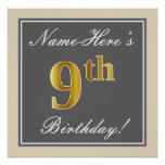 [ Thumbnail: Elegant, Gray, Faux Gold 9th Birthday; Custom Name Poster ]