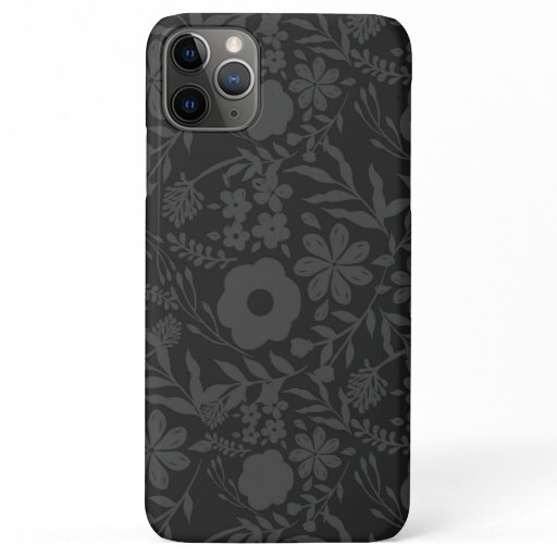 Elegant Gray Floral Doodles Black Pattern iPhone 11 Pro Max Case
