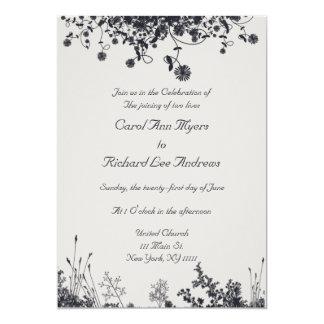 Elegant Gray Floral Wedding Design Card