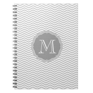 Elegant gray geometry of chevrón and monograma notebook