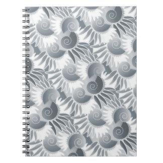 Elegant Gray Green Pewter Art Deco Roaring 20s Spiral Notebooks