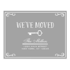Elegant Gray Key Moving Announcement Postcard at Zazzle