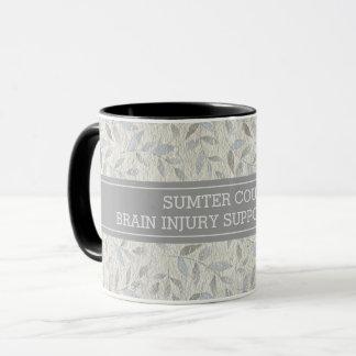 Elegant Gray Leaves Personalized Support Group Mug
