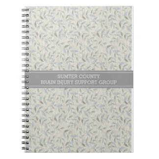 Elegant Gray Leaves Personalized Support Group Notebook