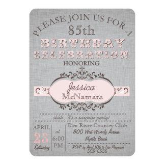 "Elegant Gray Linen and Pink Birthday Invitation 5"" X 7"" Invitation Card"