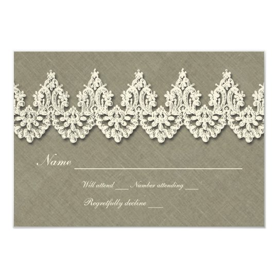 Elegant Gray Linen White Lace rsvp Card