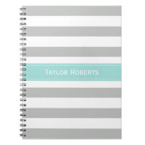Elegant Gray Mint Stripes Personalized Notebook