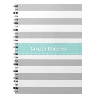 Elegant Gray Mint Stripes Personalized Notebook