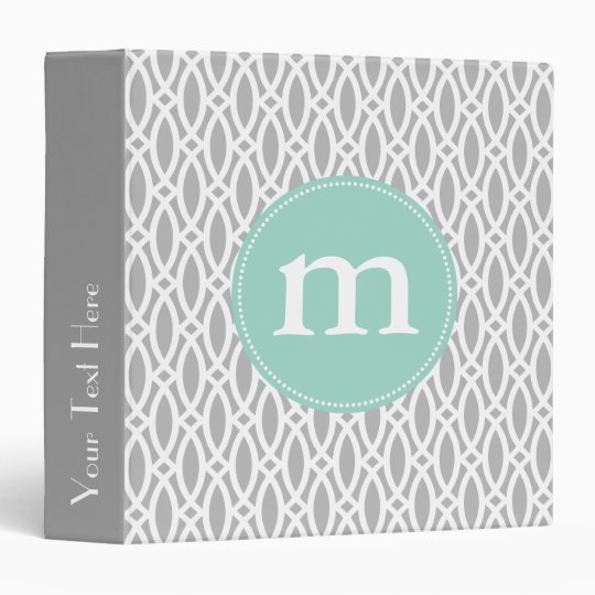 Elegant Gray Modern Trellis Personalized 3 Ring Binder