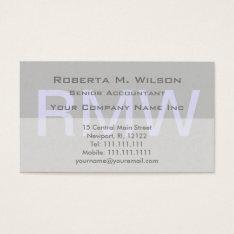 Elegant Gray Monogram Custom Colors Accountant Cpa Business Card at Zazzle
