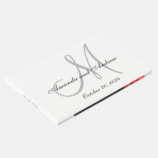 Elegant Gray Monogram with Photo Wedding Guest Book