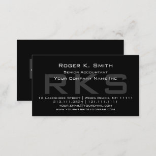 Elegant Gray on Black Monogram Classic Business Card