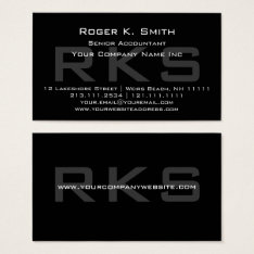 Elegant Gray On Black Monogram Classic Business Card at Zazzle