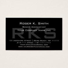 Elegant Gray On Black Monogram Classic Business Card at Zazzle